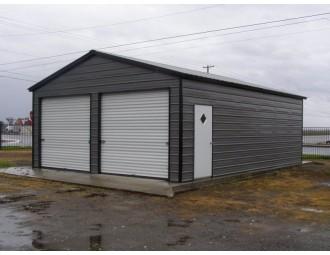 Garage   Vertical Roof   22W x 26L x 9H   2-Car Steel Garage