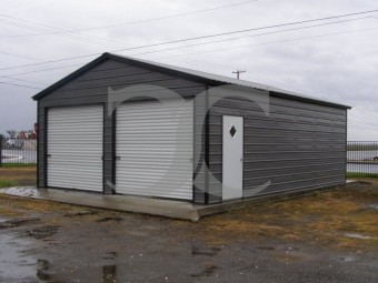 Garage | Vertical Roof | 22W x 26L x 9H | 2-Car Steel Garage