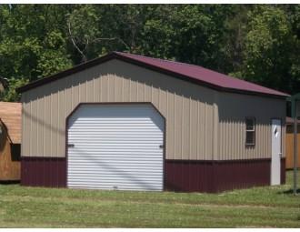 Deluxe Metal Garage | Vertical Roof | 20W x 21 x 8H |  1-Car Garage