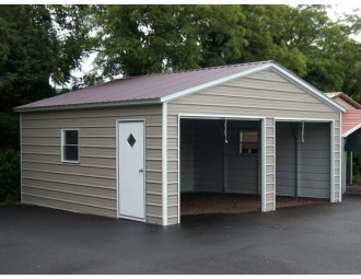 2-Bay Garage   Vertical Roof   18W x 21L x 7H    Enclosed Garage