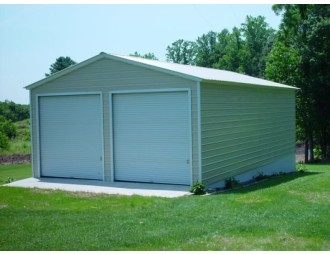 Metal Garage | Vertical Roof | 22W x 31L x 11H |  2-Car Garage