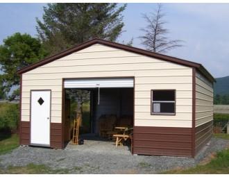 Metal Storage Building | Vertical Roof | 22W x 21L x 8H | Enclosed Garage