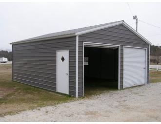 2-Bay Garage Building | Vertical Roof | 20W x 21L x 9H |  Metal Garage
