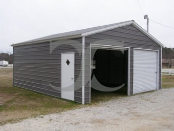 2-Bay Garage Building | Vertical Roof | 20W x 21L x 9H |  Metal Garage