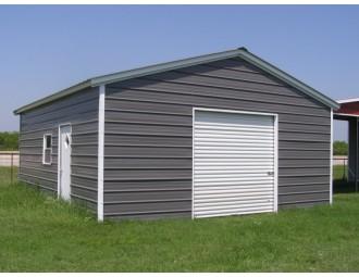 Metal Garage   Vertical Roof   18W x 29L x 9H   1-Car Garage