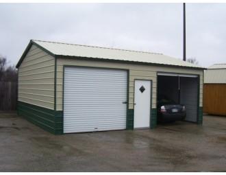 Metal Garage   Vertical Roof   22W x 26L x 9H   Side Entry Copy
