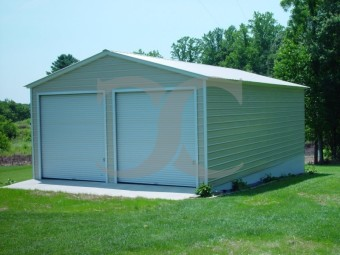 Vertical Roof Metal Garage | Vertical Roof | 22W x 31L x 9H | 2-Car