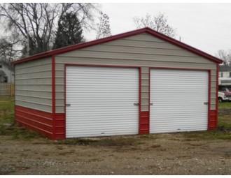 2-Bay Garage   Vertical Roof   20W x 21L x 9H    Metal Garage