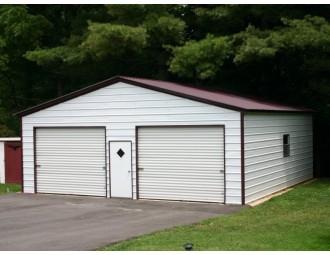 2-Car Garage   Vertical Roof   24W x 31L x 9H   Metal Garage