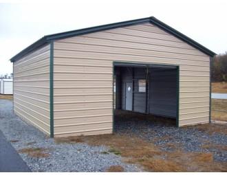 Single Bay Metal Garage | Vertical Roof | 20W x 26L x 9H | 1-Car