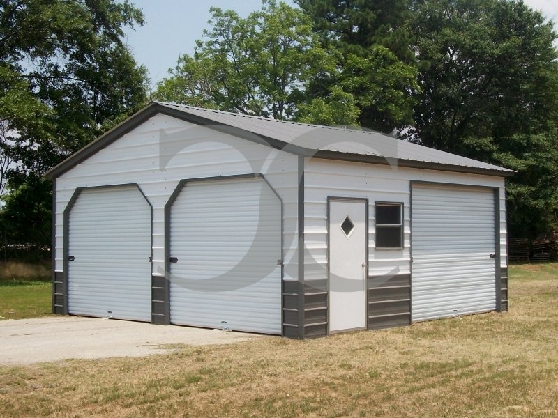 2-Bay Enclosed Garage | Vertical Roof | 20W x 21L x 9H | All Steel