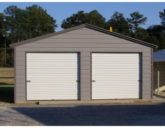 Enclosed Steel Garage | Vertical Roof | 20W x 21L x 9H | 2-Car