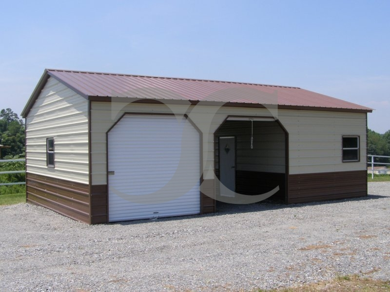 Steel Garage | Vertical Roof | 24W x 41L x 9H | Workshop