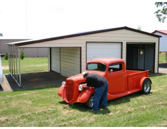 Enclosed Garage with Lean-to   Vertical Roof   20W x 26L x 10H   Metal Garage