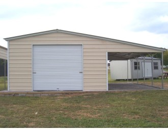 Metal Garage with Lean-to   Vertical Roof   40W x 26L x 10H/7H   2-Car