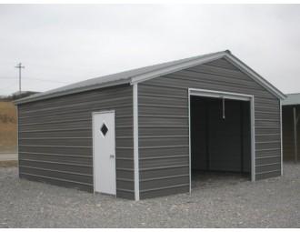 Enclosed Metal Garage   Vertical Roof   20W x 21L x 9H    1-Car