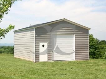 One Car Garage | Vertical Roof | 20W x 26L x 11H |  Metal Garage