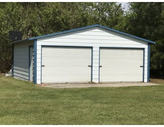 Metal Garage | Boxed Eave Roof | 20W x 21L x 8H | 2 Bays