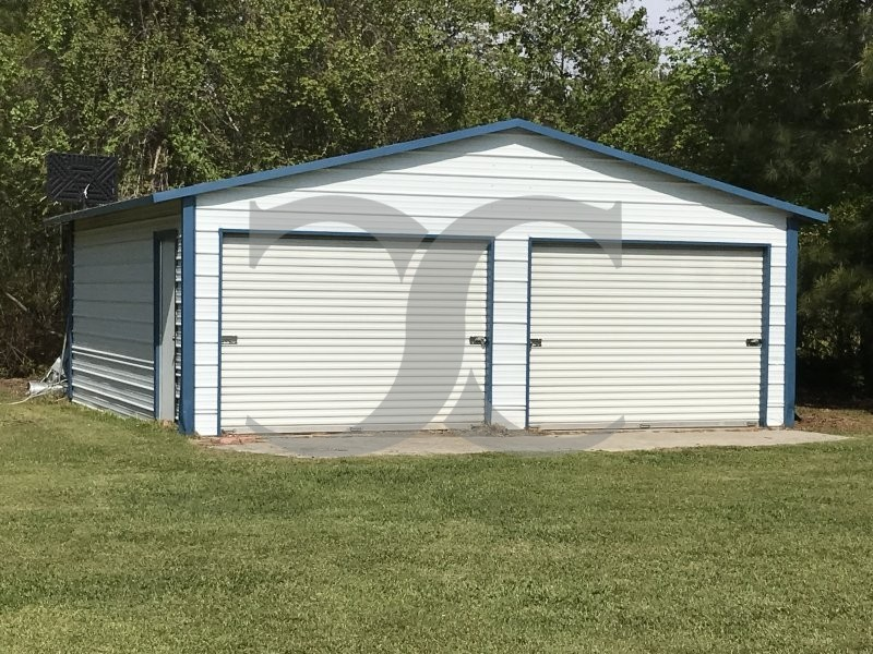 Metal Garage Boxed Eave Roof 20w X 21l X 8h 2 Bays