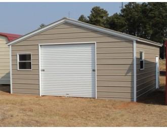 Metal Garage | Vertical Roof | 20W x 21L x 8H | 1-Car