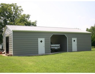 Enclosed Steel Building | Vertical Roof | 22W x 51L x 9H | Metal Garage