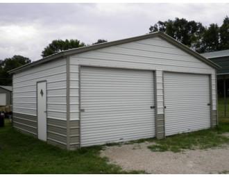 Garage Building | Vertical Roof | 22W x 21L x 9H | 2-Cars