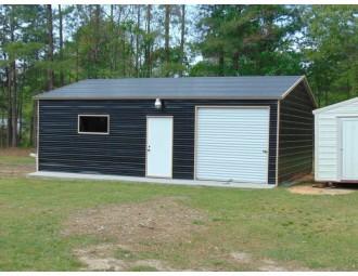 Garage Shop Building | Boxed Eave Roof | 22W x 31L x 9H | Side Entry
