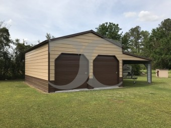Enclosed Steel Garage | Vertical Roof | 24W x 31L x 12H | Lean-to