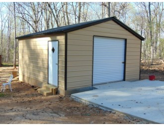 Backyard Storage Garage | Vertical Roof | 20W x 21L x 7 | Metal Garage