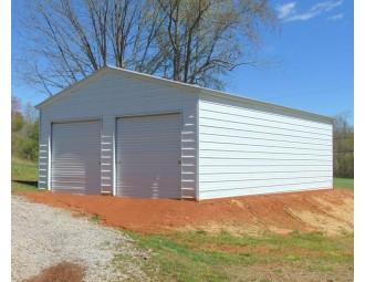 2-Car All-Steel Garage | Vertical Roof | 22W x 31L x 9H |  Metal Garage