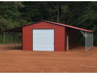 Metal Garage with Lean-tos   Vertical Roof   24W x 51L x 11H   Metal Shed