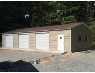 Side Entry Metal Garage | Vertical Roof | 24W x 51L x 9H |  Workshop