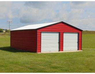 2-Car Metal Garage   Vertical Roof   22W x 31L x 9H   Two-Car