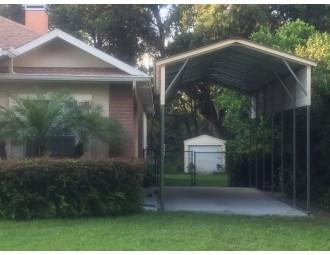 Carport   Vertical Roof   12W x 31L x 12H Metal RV Carport Cover Copy